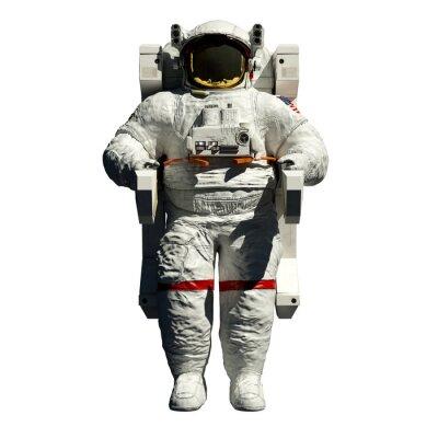 Adesivo spacewalking astronauta - vista 3d ilustração frente no branco