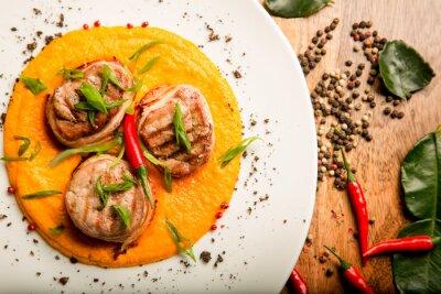 Adesivo Spicy, carne, fritters, galinha, carne, molho, ervas, Tailandês, receita ...