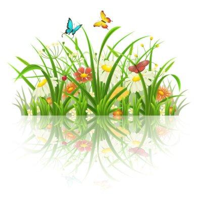 Adesivo Spring grass, flores e borboletas com reflexão sobre o branco
