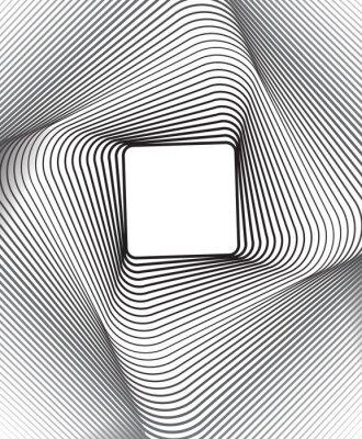 Adesivo square optical art background black and white