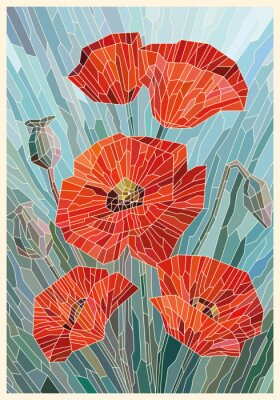 Adesivo Stained Glass Flowers Poppies on a gray turquoise background. Light lines. Vector full color graphics
