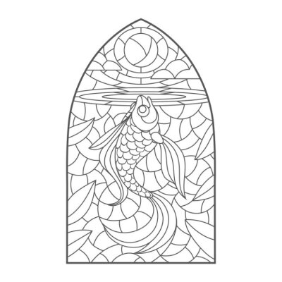 Adesivo stained glass window with goldfish , vector graphic to design