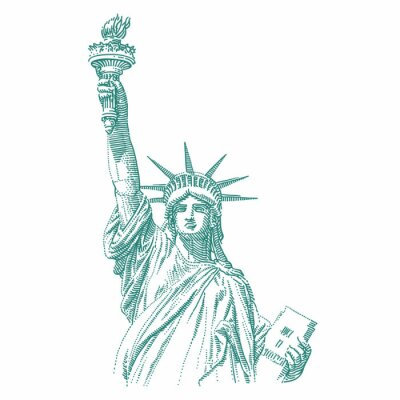 Adesivo Statue of Liberty engraving style illustration. Engraved style drawing. Vector.