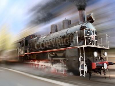 Adesivo steam engine, locomotive in motion blur