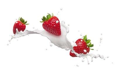 Adesivo strawberries with milk splash