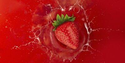 Adesivo Strawberry, respingo, vermelho, suco, líquido