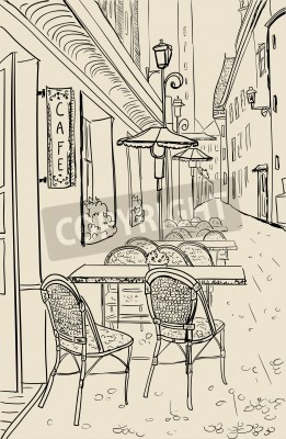 Adesivo Street cafe in old town sketch illustration.