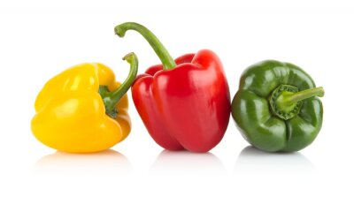 Adesivo Studio shot of red,yellow,green bell peppers isolated on white