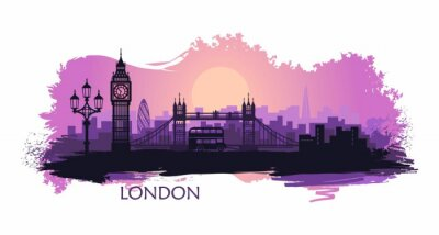 Adesivo Stylized landscape of London with big Ben, tower bridge and other attractions