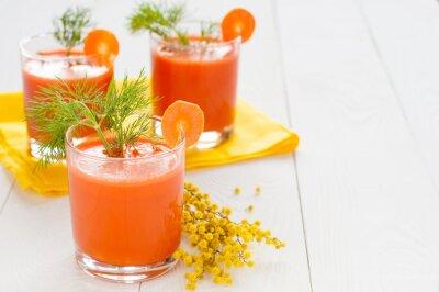 Adesivo Suco de cenoura em copos e ramo mimosa