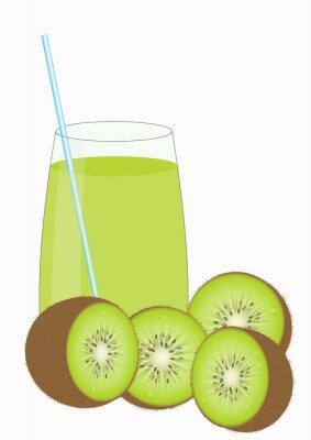 Adesivo Suco de frutas Kiiwi e kiwi metades