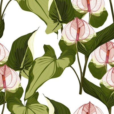 Adesivo Summer colorful hawaiian seamless pattern with tropical plants and Spathiphyllum flowers on white background.