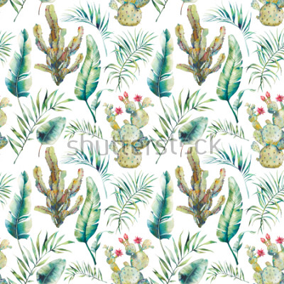 Adesivo Summer palm tree, cactus and banana leaves seamless pattern. Watercolor green branches and flowering succulent on white background. Exotic wallpaper design