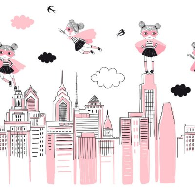 Adesivo Supergirls cartoon characters in the city fly above and stand on buildings. Girlish Superhero themed seamless border pattern. Vector doodle graphics. Perfect for little girl design like t-shirt