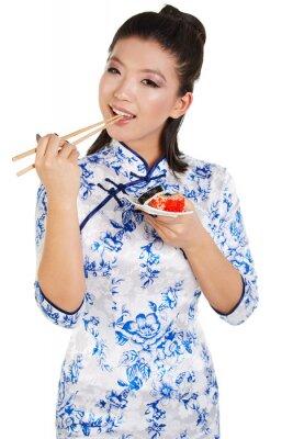 Adesivo Sushi, mulher, segurando, sushi, pauzinhos