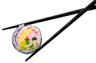 Adesivo Sushi, rolo, pretas, pauzinhos, isolado, branca, fundo