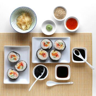 Adesivo Sushi rolos, molho de soja, gengibre e wasabi