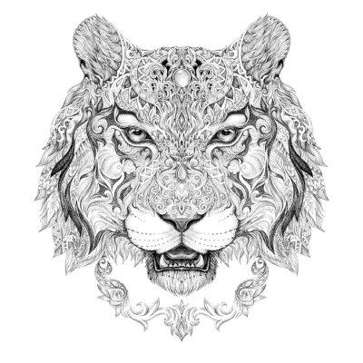Adesivo Tattoo, gráficos cabeça de um tigre