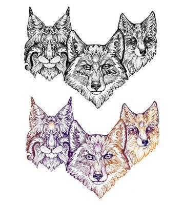 Adesivo Tatuagem. Lobo, lince e raposa
