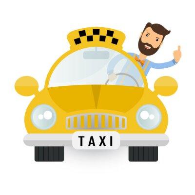 Adesivo Táxi amarelo do carro - o ícone do vetor