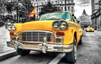 Adesivo Táxi amarelo do vintage no Lower Manhattan - Nova York