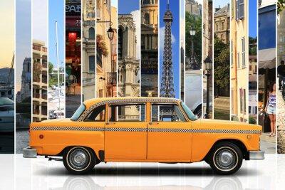 Adesivo Taxi, retro cor laranja carro no fundo branco