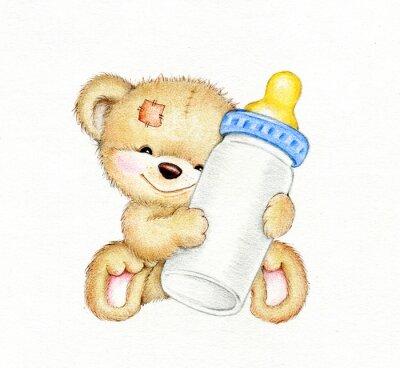 Adesivo Teddy bear with bottle of milk