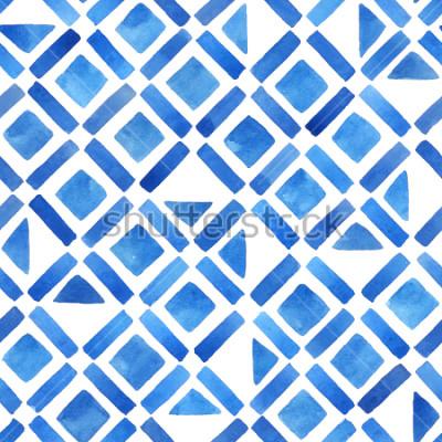 Adesivo Telha geométrica aquarela abstrata. Padrão sem alteração em azul