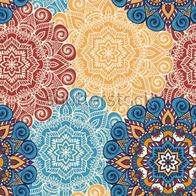 Adesivo Telha sem costura padrão com mandalas. Elementos decorativos vintage. Mão desenhada fundo. Islã, árabe, indiano, motivos otomanos. Perfeito para impressão em tecido ou papel.