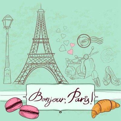 Adesivo Template com símbolos de Paris