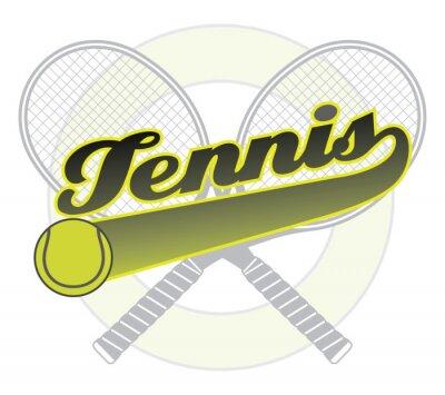 Adesivo Ténis Com Cauda da bandeira é uma ilustração de um projeto do tênis com a palavra de tênis com uma bandeira cauda para seus próprios texto, bola de tênis e raquetes de tênis.