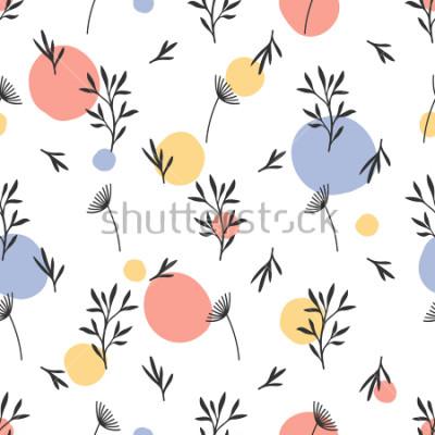 Adesivo Teste padrão de flor sem emenda. Ornamento botânico liso com elementos handdrawn da natureza & pontos. Textura de repetição simples. Têxtil original moderno, papel de embrulho, design de interiore