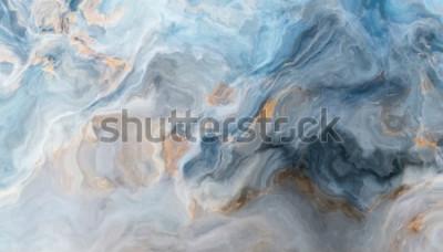 Adesivo Teste padrão de mármore azul com inclusões cinzentas e douradas. Textura abstrata e plano de fundo. Ilustração 2D