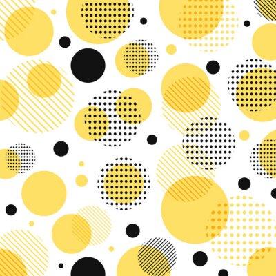 Adesivo Teste padrão de pontos amarelo, preto moderno abstrato com linhas diagonalmente no fundo branco.
