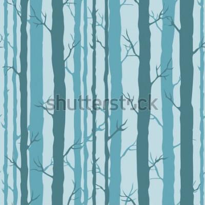Adesivo Teste padrão decorativo sem costura com troncos de árvores. Ornamento sem fim com hastes turquesas escuras de árvores em pano de fundo azul. Fundo de árvore elegante para embrulho, papel de parede.