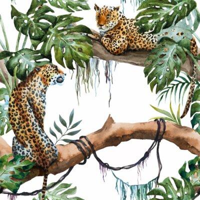 Adesivo Teste padrão do leopardo do vetor da aguarela
