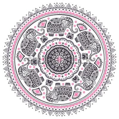 Adesivo Teste padrão étnico da mandala do elefante étnico dos lótus indianos do vetor gráfico do vintage. Ornamento tribal Africano. Pode ser usado para um livro de colorir, têxteis, gravuras, capa de telefon