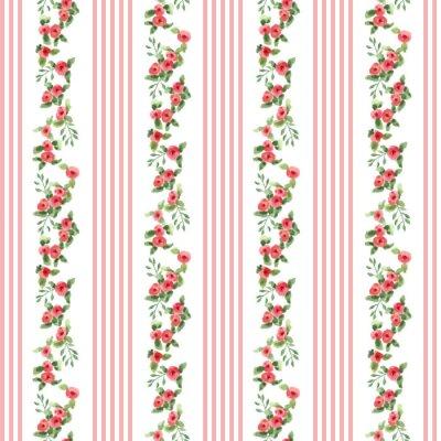 Adesivo Teste padrão floral do estilo retro com listras