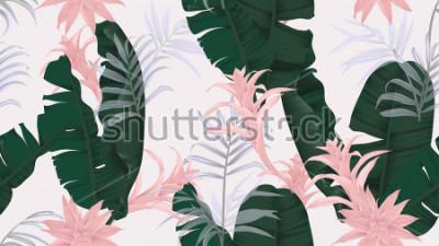 Adesivo Teste padrão floral sem costura, folhas de bananeira, planta Bromeliaceae rosa e folhas de palmeira sobre fundo cinza claro, tema vintage pastel