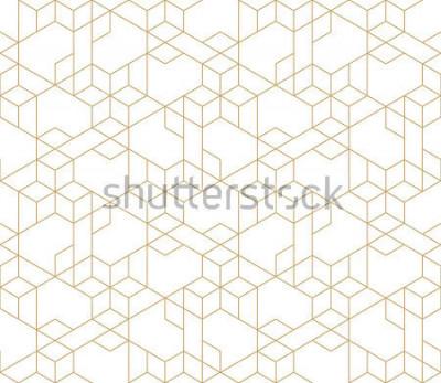Adesivo Teste padrão geométrico abstrato com cruzamento de linhas douradas no fundo branco. Relação linear sem alteração. Fractal elegante textura. Padrão de vetor para preencher ou plano de fundo, gravação