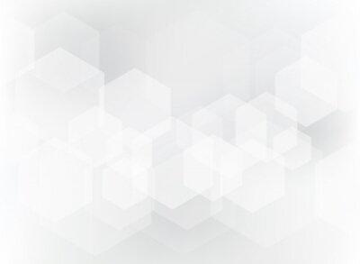 Adesivo Teste padrão geométrico abstrato da folha de prova do hexágono no fundo branco e cinzento.
