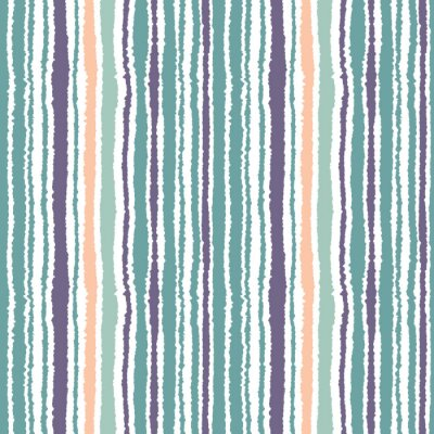 Adesivo Teste padrão listrado sem emenda. Linhas estreitas verticais. Papel rasgado, textura da borda do fragmento. Azul, branco, cor de laranja macia. Vetor