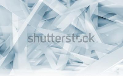 Adesivo Teste padrão poligonal digital abstrato das vigas caóticas do fundo, as azuis e as brancas. Ilustração 3d tonificada azul, gráfico de computador