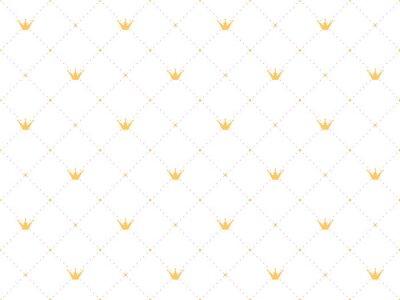 Adesivo Teste padrão sem em estilo retro com uma coroa de ouro e bolinhas rosa no fundo branco. Papel de parede bonito para pequenas princesas.