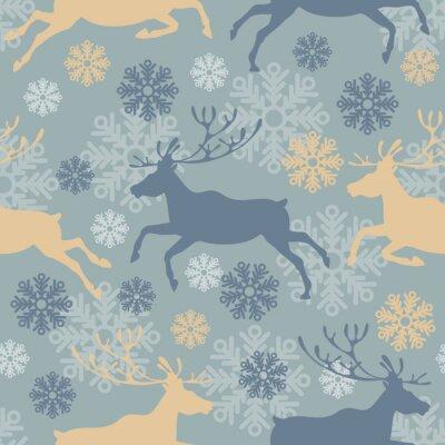 Adesivo Teste padrão sem emenda bonito do Feliz Natal com renas e flocos de neve. Ilustração do vetor do vintage.