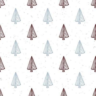 Adesivo Teste padrão sem emenda com a árvore de Natal desenhada mão. Fundo do feriado do Doodle