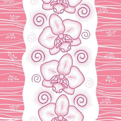 Adesivo Teste padrão sem emenda com traça pontilhada cor-de-rosa Orquídea ou Phalaenopsis e redemoinhos no fundo branco. Fundo floral no estilo do pontowork.