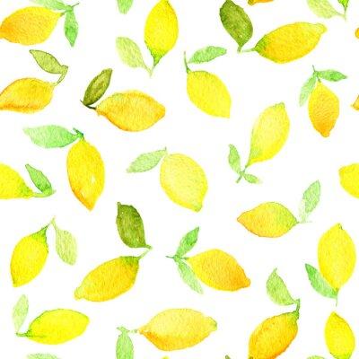 Adesivo Teste padrão sem emenda da aguarela com limões amarelos. Pode ser usado para o papel de envolvimento, o fundo do aniversário, o dia de mãe e todos os feriados.