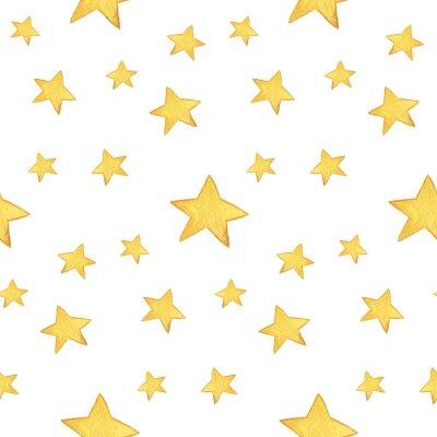 Adesivo Teste padrão sem emenda da aguarela: Feliz Natal, estrelas amarelas