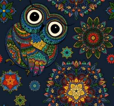 Adesivo Teste padrão sem emenda da coruja decorativa da cor com flores e mandala. Africano, indiano, totem, projeto do tatuagem. Pode ser usado para o projeto de um t-shirt, de um saco, de um cartão postal, d